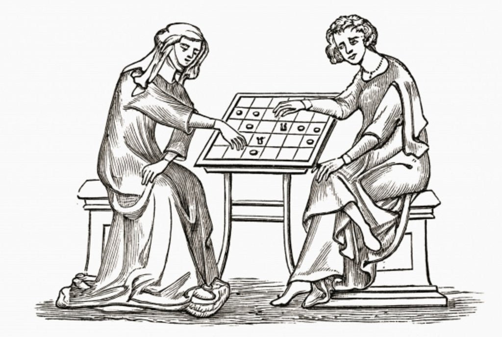 Lady and youth playing draughts, or checkers, in the early 14th century by English School