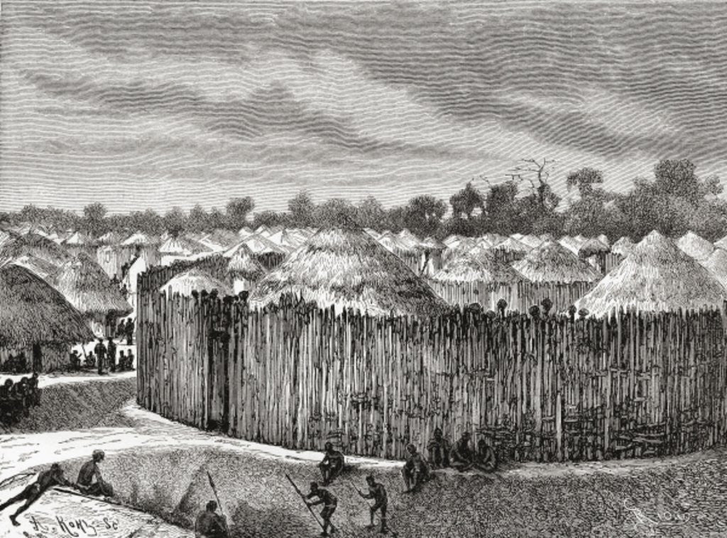Detail of A village in Central Africa during the 19th century by Spanish School
