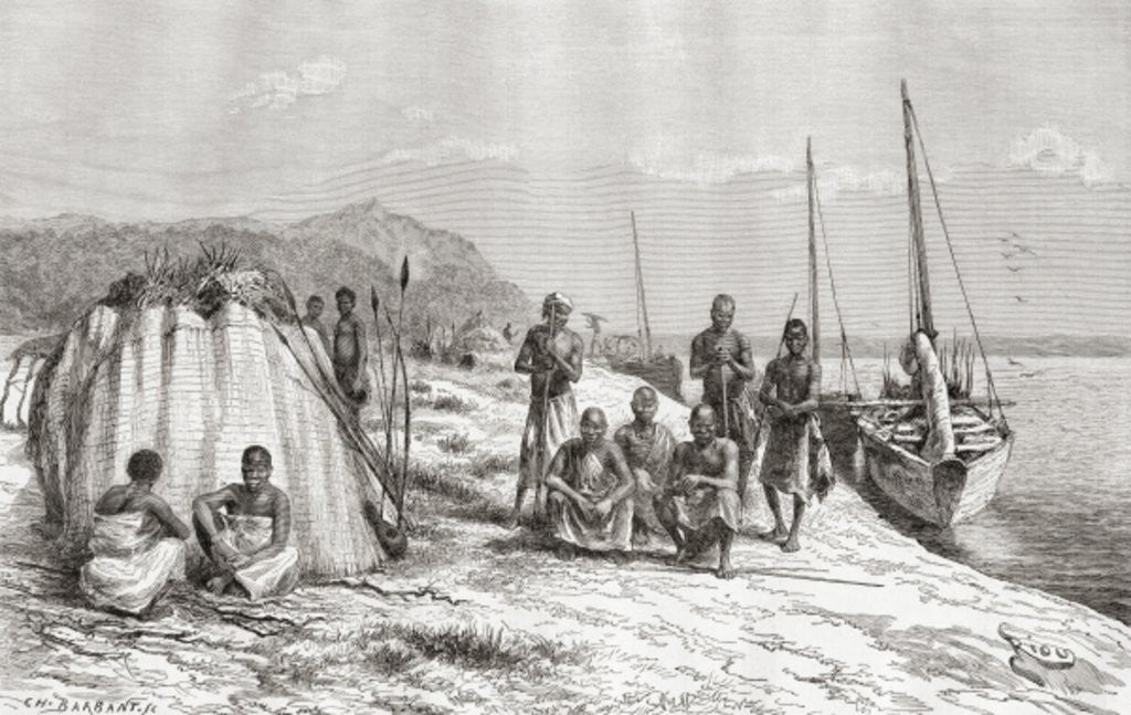 Detail of Congolese tribesmen by their boats on the Congo River in the 19th century by Spanish School