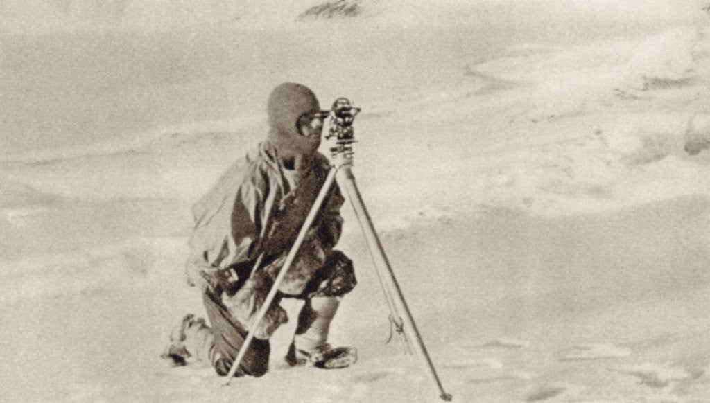 Detail of Captain Evans observing with the theodolite used by Captain Scott to fix position of the South Pole by English Photographer