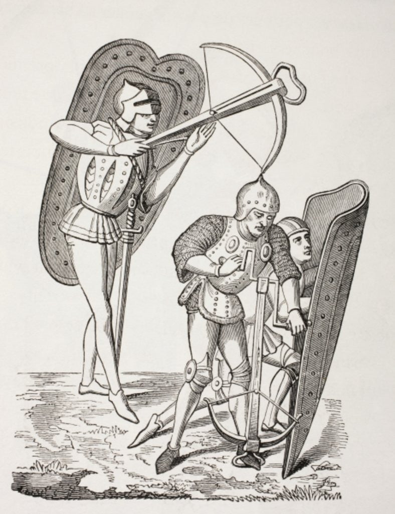 Detail of Two 15th century French crossbowmen, one firing his weapon, the other loading it with a windlass, both protected by pavises by French School