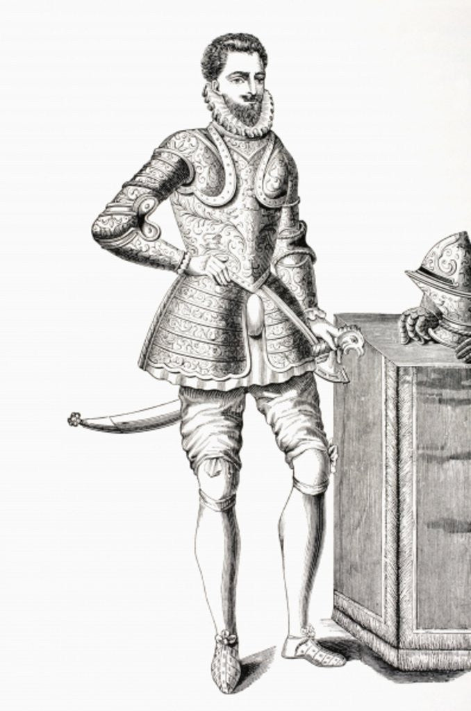 Detail of Francis, Duke of Anjou and Alencon, dressed in 16th century damascene armour by French School