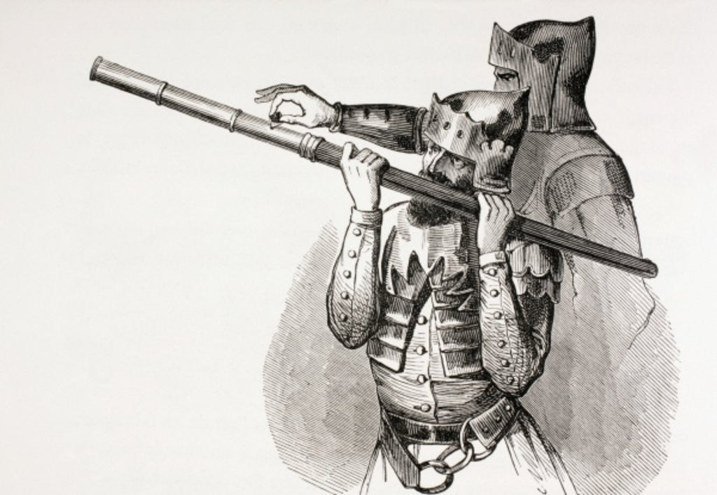 Two 15th century soldiers with a hand gun or firing baton