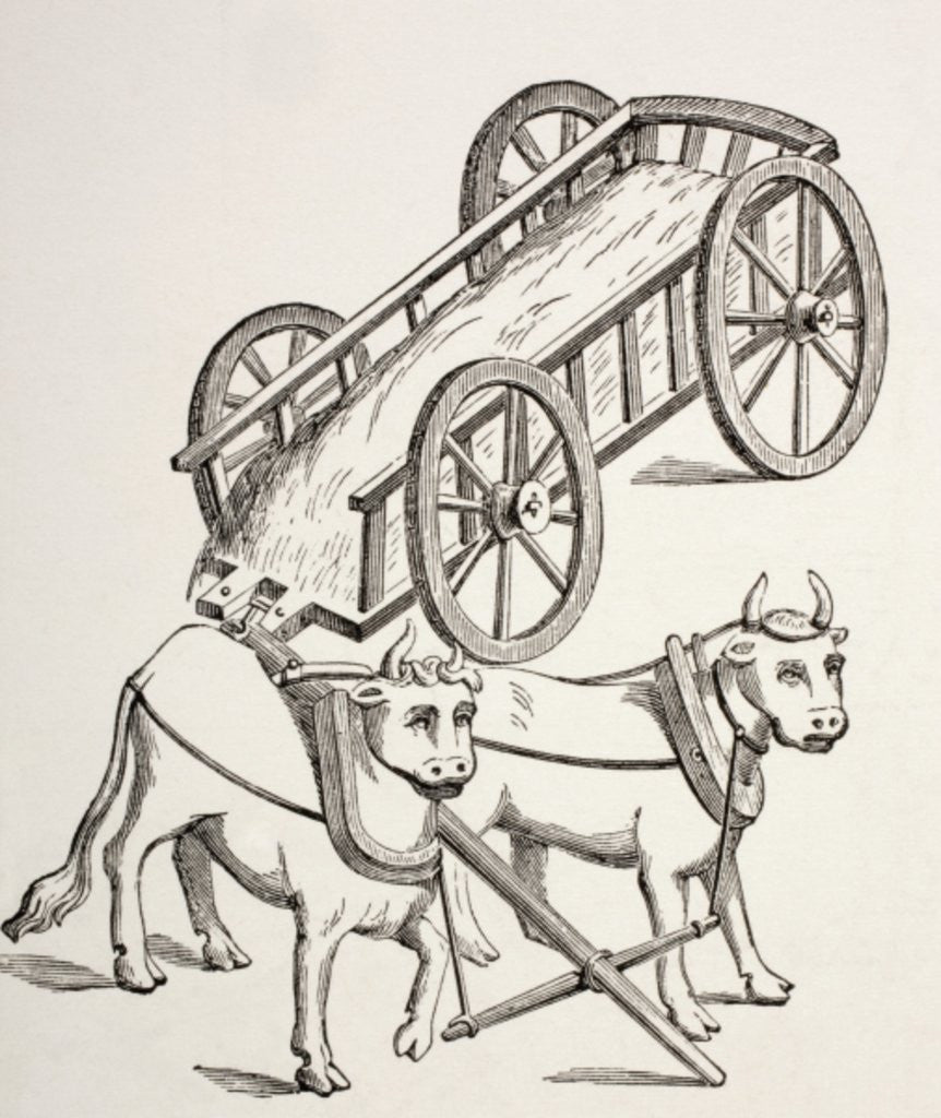 Detail of 15th century cart drawn by oxen by French School