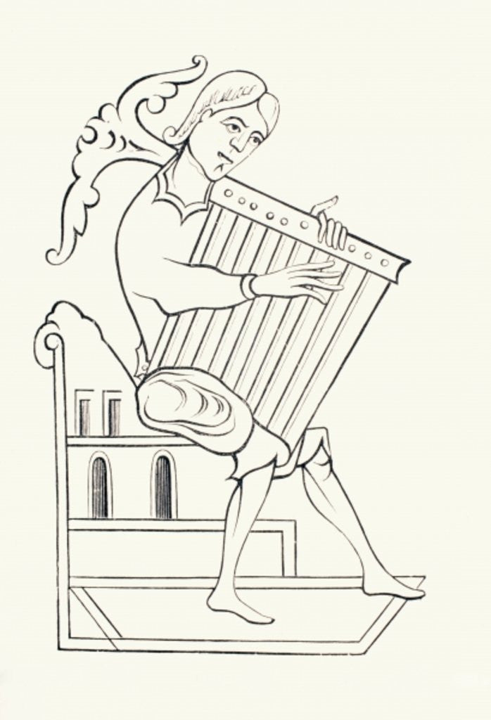 Detail of A 9th century musician playing a musical instrument known as a psalterium by French School