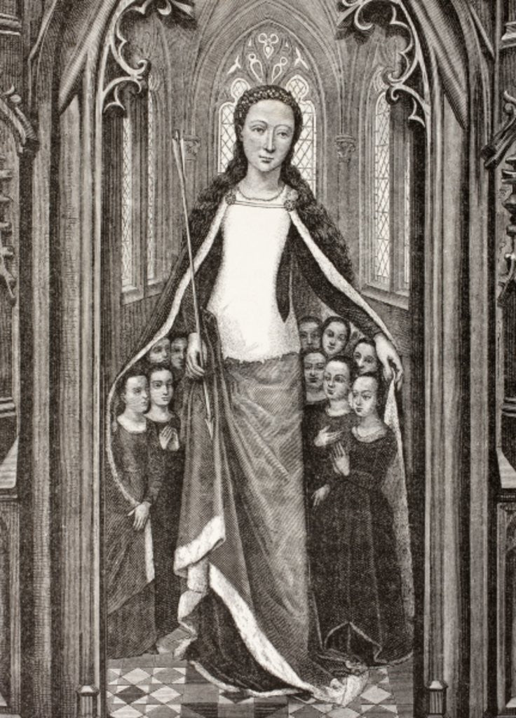 Detail of St. Ursula holding an arrow, the symbol of her martyrdom, and protecting virgins beneath her cloak by French School