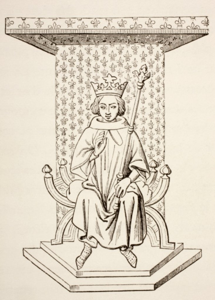 Detail of King Louis IX of France on his Throne with Fleur-de-Lis Motif by French School