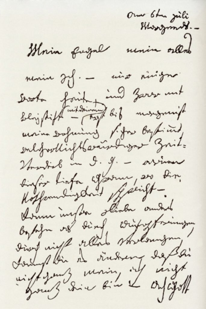 Detail of Letter from Beethoven to 'The Immortal Beloved' by Ludwig van Beethoven