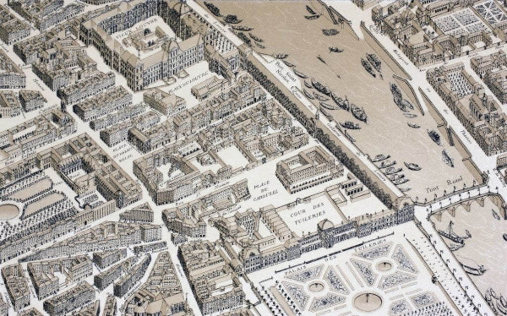 Detail of Bird's Eye View of Paris in 1730 by French School