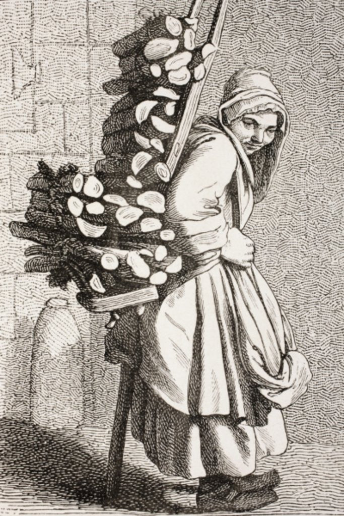 Detail of A Woman Carrying Firewood to Sell in 18th Century Paris by French School