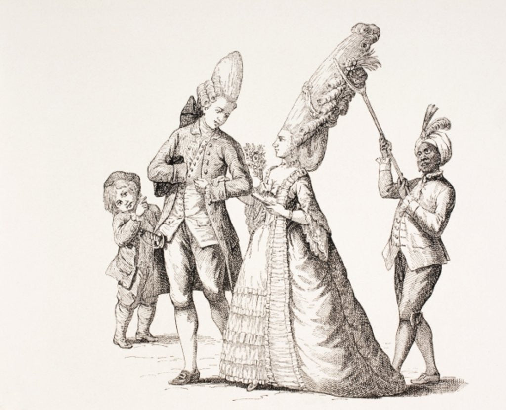 Detail of A Satire on Women's Extreme Hairdos in 18th Century Paris by French School