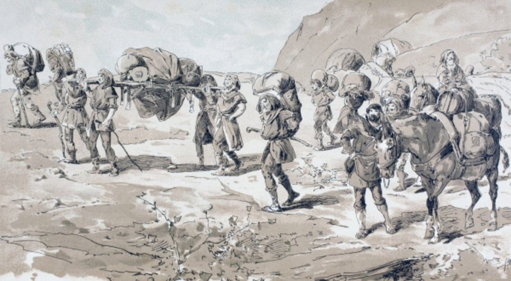 Detail of Porters carrying goods in baskets on their backs by Armand Jean Heins