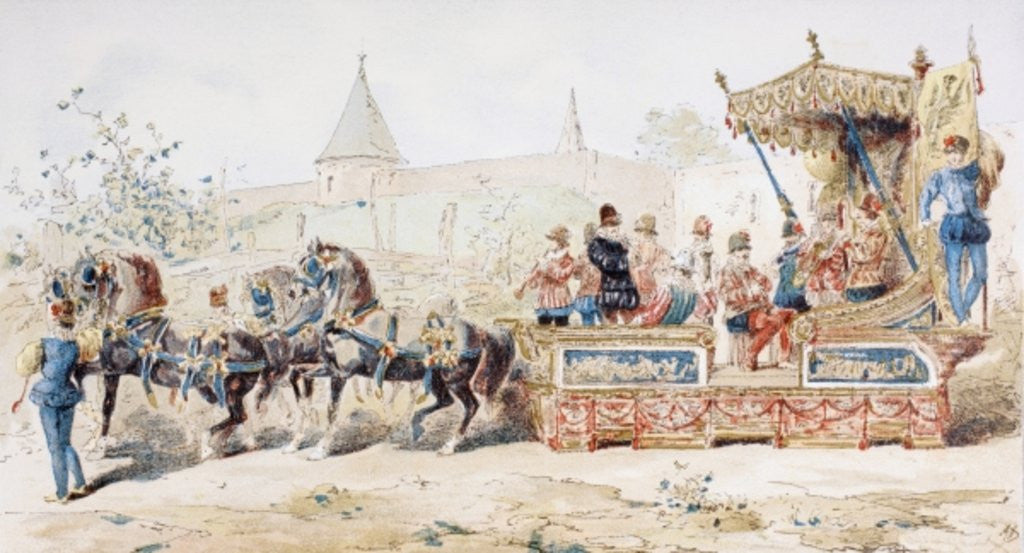 Detail of Horse Drawn Decorated Wagon carrying Professional Musicians, 16th Century by Armand Jean Heins