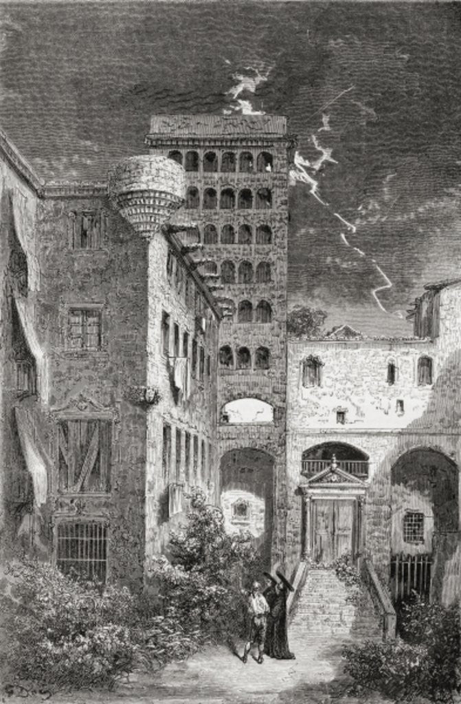 Detail of El Palacio de la Inquisicion in the 19th century by Gustave Dore