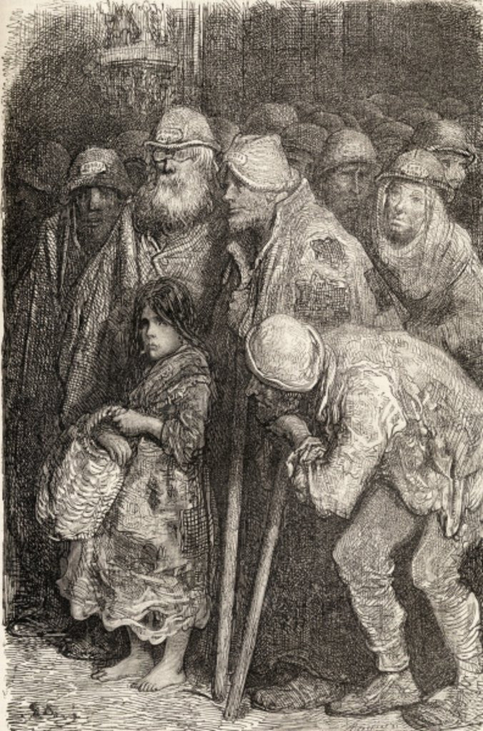 Detail of Spanish Beggars from Burgos, Spain in the 19th century by Gustave Dore