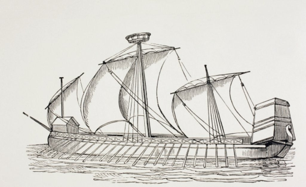 Detail of Sixteenth Century Three-Masted Galley with Square Sails by European School