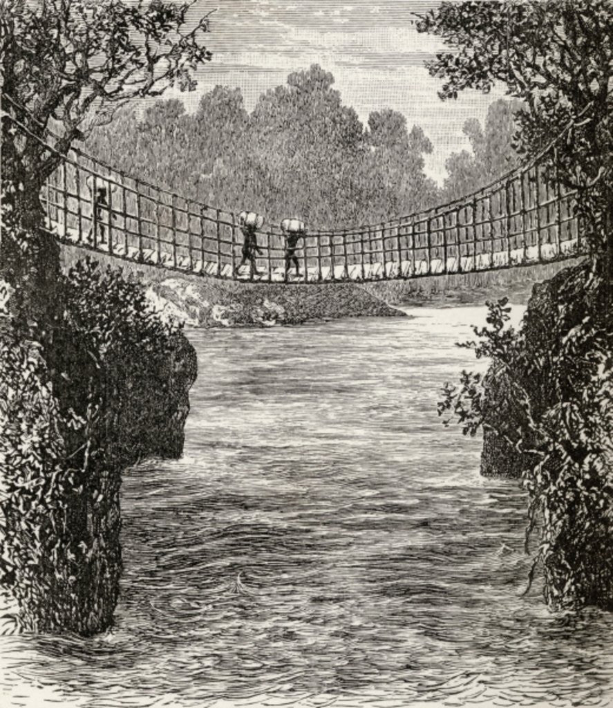 Detail of Suspension bridge across the Ituri River, the Congo by English School