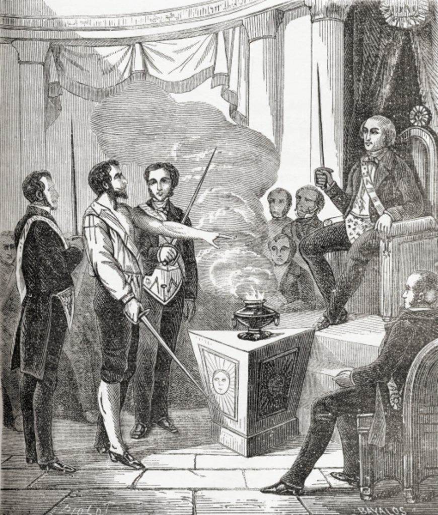 Detail of Initiation of a French Mason into the brotherhood by French School