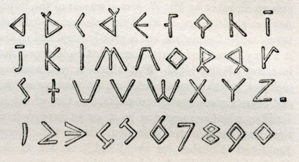 Detail of James Gall's triangular tactile alphabet and numerals for the blind by English School