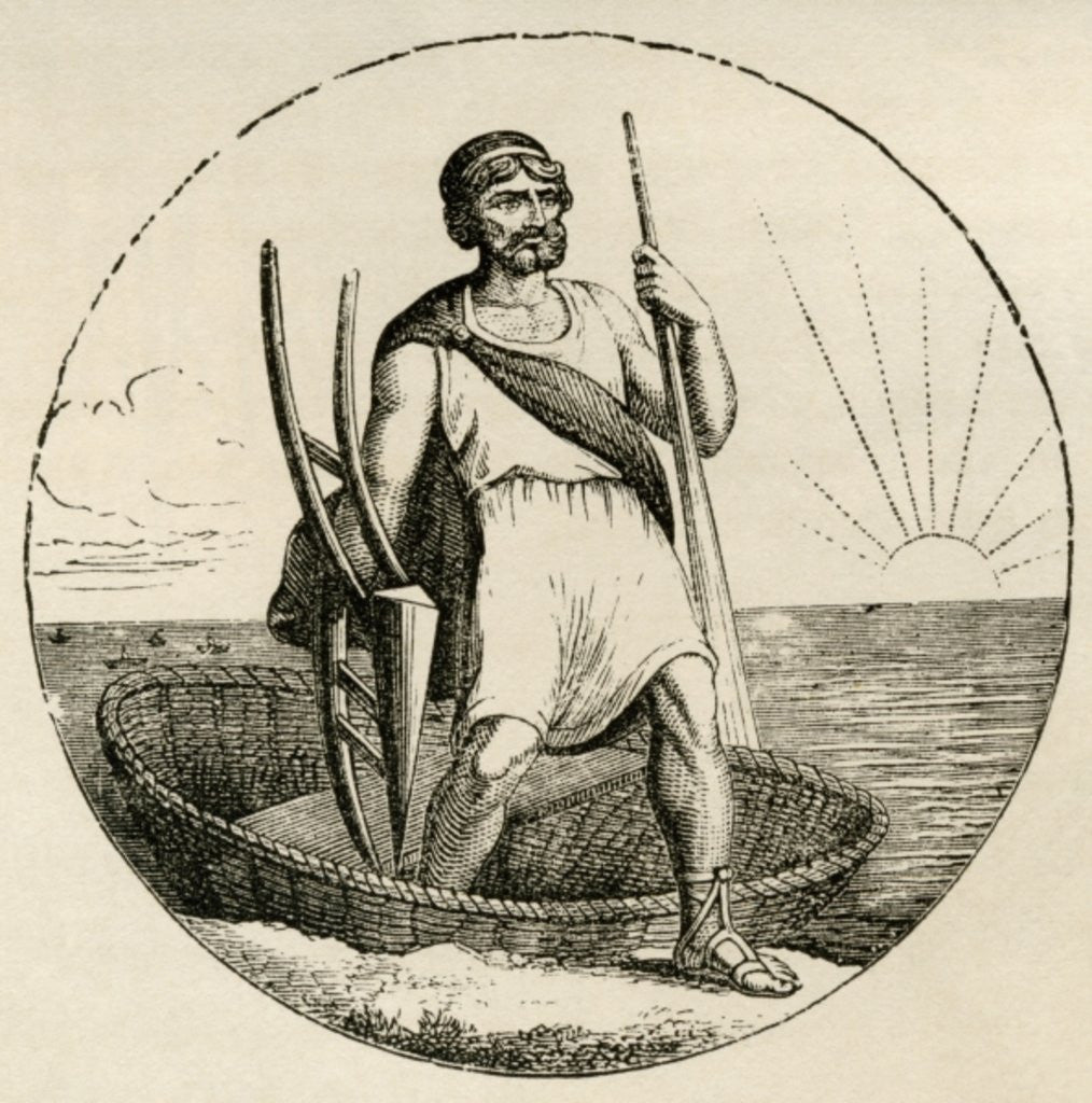 Detail of Ancient Briton with a coracle and plow by English School