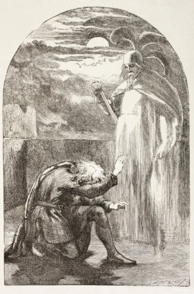 Detail of Hamlet sees the Ghost, the spirit of his father by English School