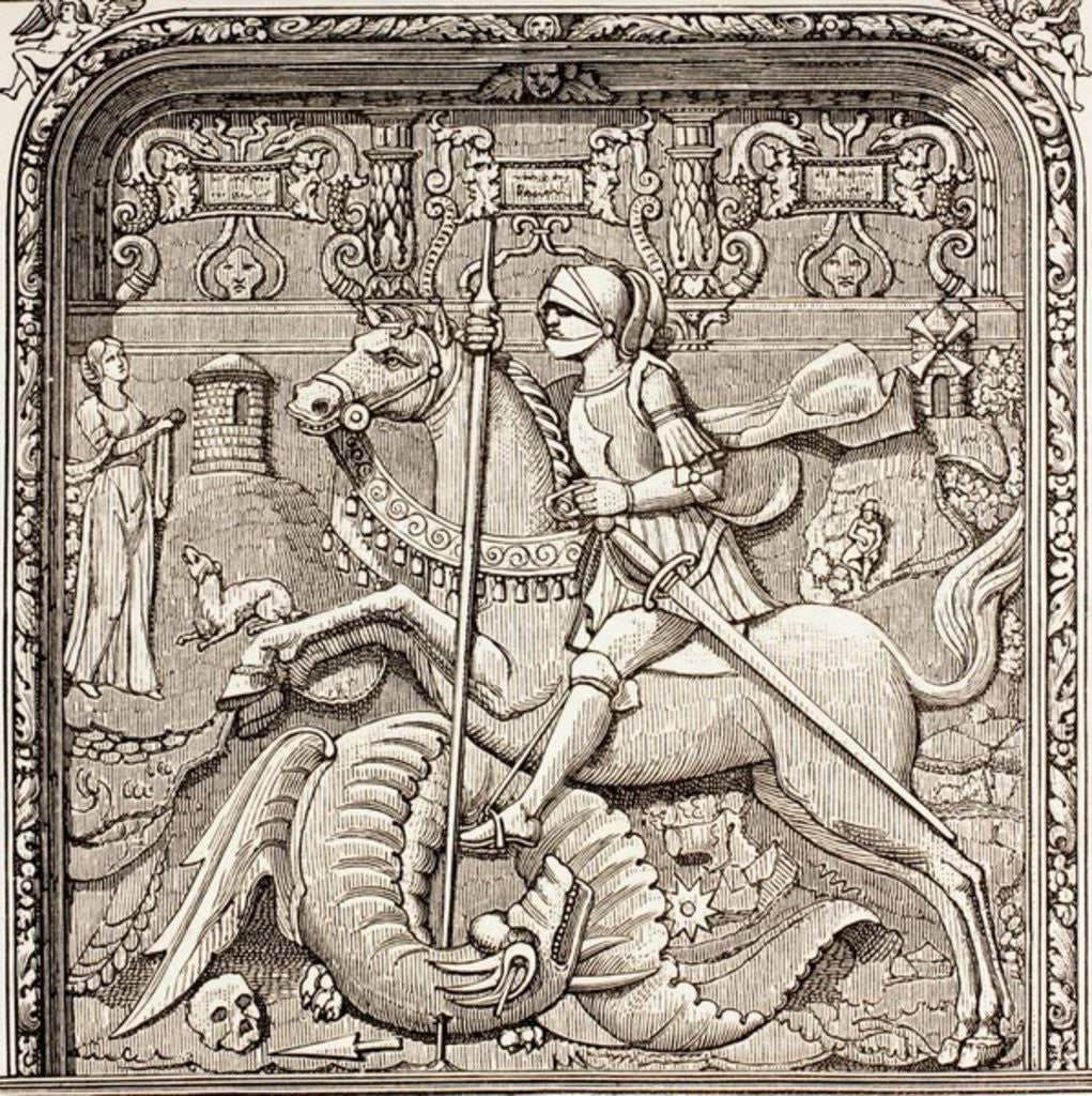 Detail of St. George slaying the dragon by French School