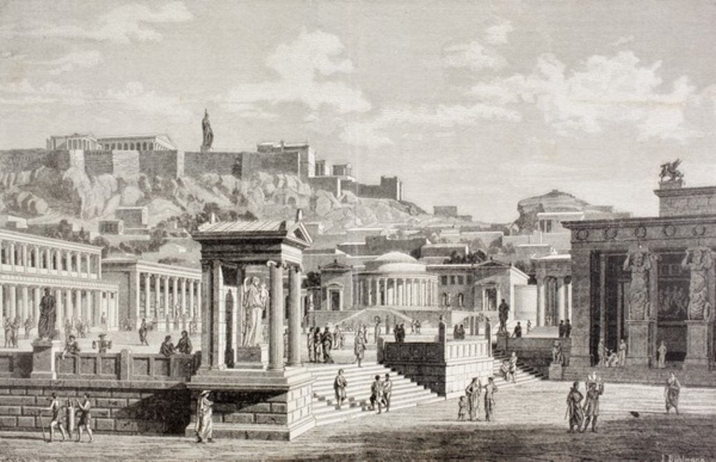 Detail of Imaginary view of the market place of Agora in Athens, ancient Greece by European School