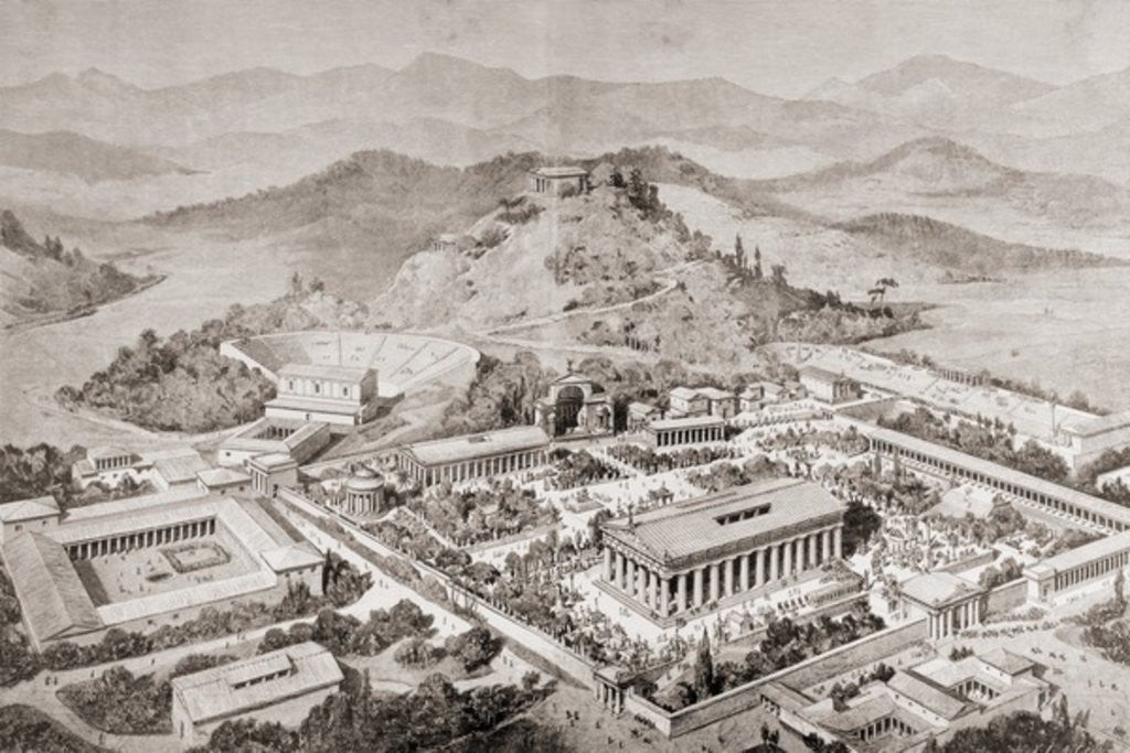 Detail of Artist's impression of Olympia, Greece, at the time of the ancient Olympic Games by European School