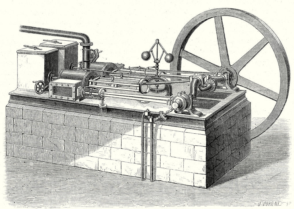Detail of A Hot-Air Cylinder Machine with Horizontal Engines by Anonymous