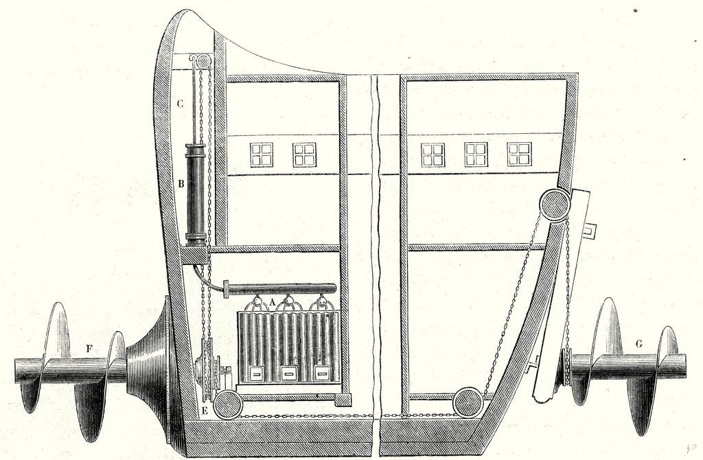 Detail of Cross Section of the Rear and the Front of the Propeller Boat of Charles Dallery by Anonymous