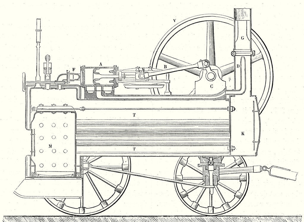 Detail of Cross Section of M. Calla's Traction Engine by Anonymous