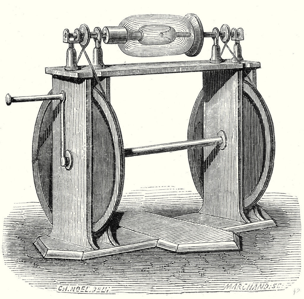 Detail of Hauksbee's First Electric Machine by Anonymous
