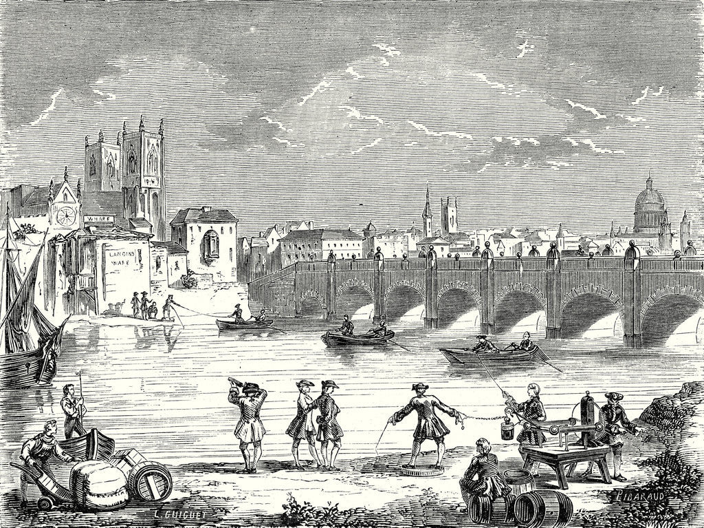 Detail of Experiment Conducted in 1747 on the Thames by Martin Folcker Cavendish and Bevis Near London Bridge to Measure the Speed of Electricity by Anonymous