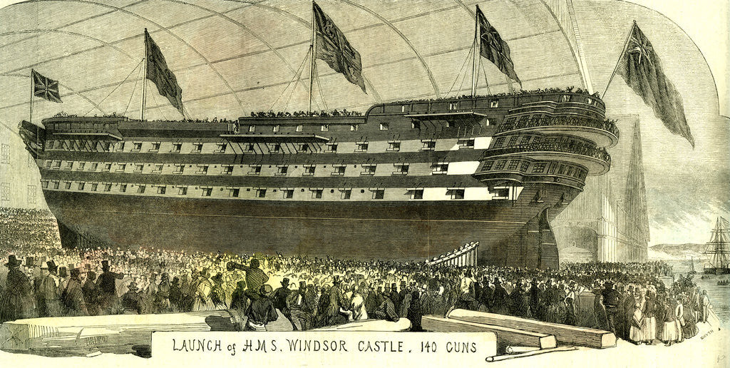 Detail of Launch of Hms. Windsor Castle 140 Guns 1852 by Anonymous