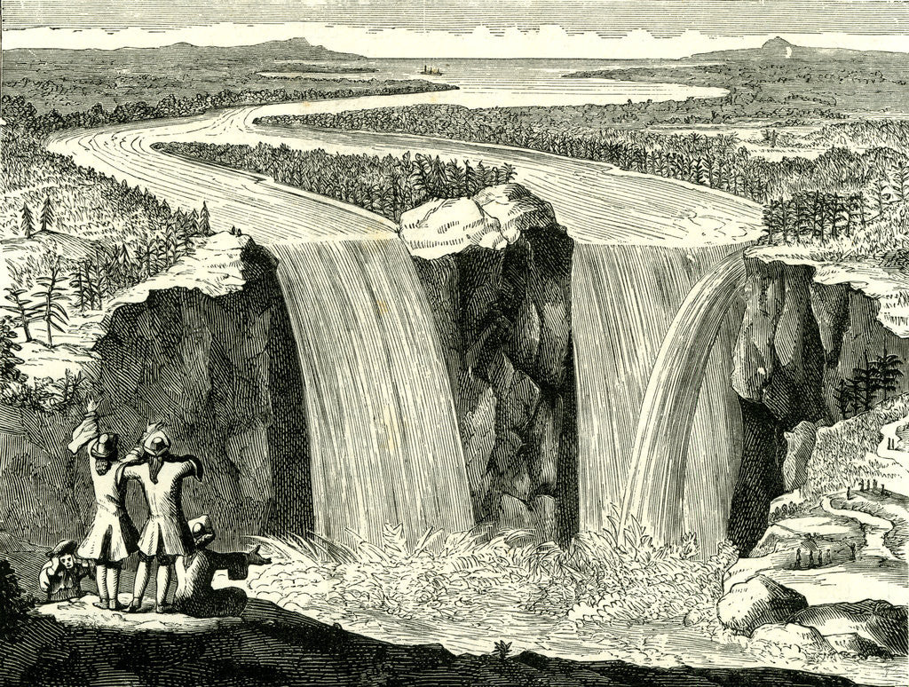 Detail of Hennepin's Sketch of Niagara in 1678 USA by Anonymous