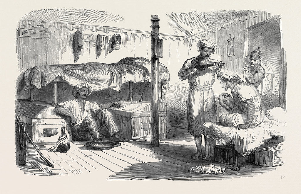 Detail of The Mutiny in India: Interior of a Subaltern's Tent Before Delhi by Anonymous