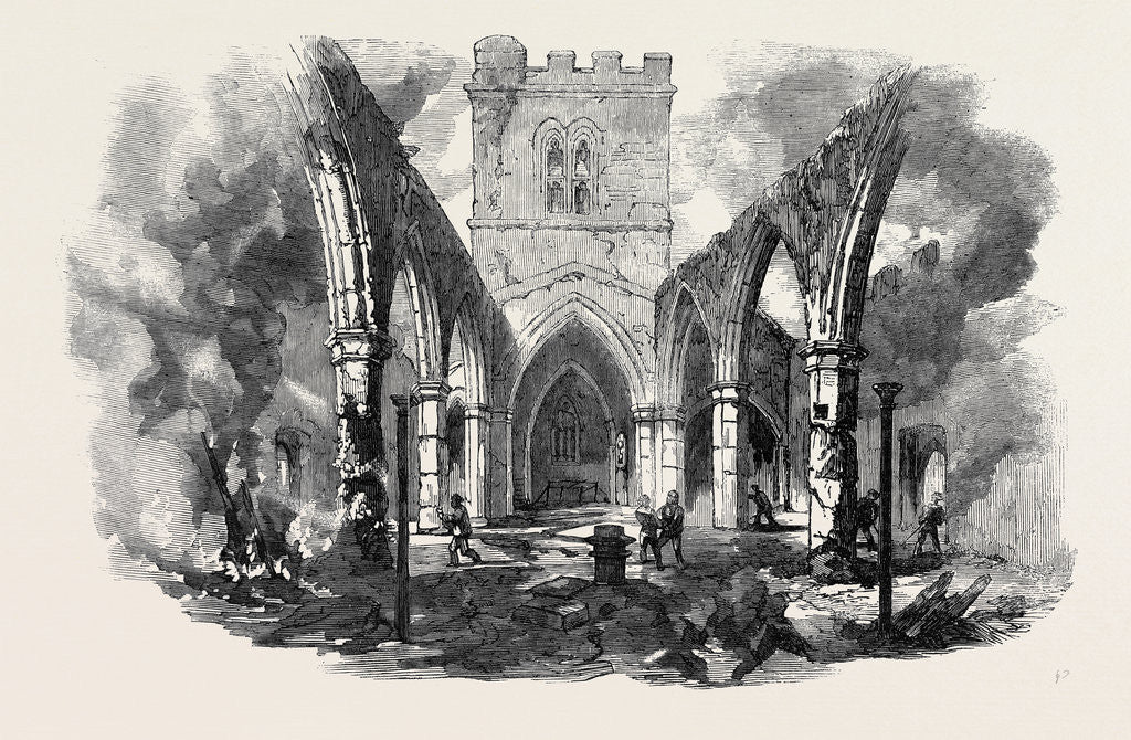 Detail of Remains of Hawarden Church Sketched after the Recent Fire by Anonymous