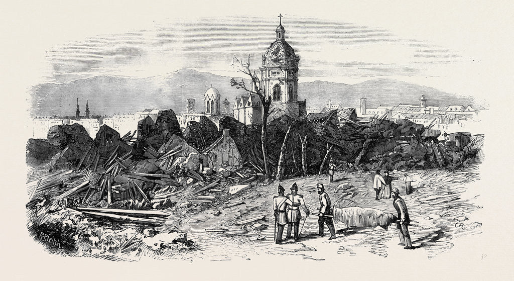 Detail of The Late Explosion at Mayence: St. Stephen's Church Mayence from the Site of the Powder Magazine. by Anonymous