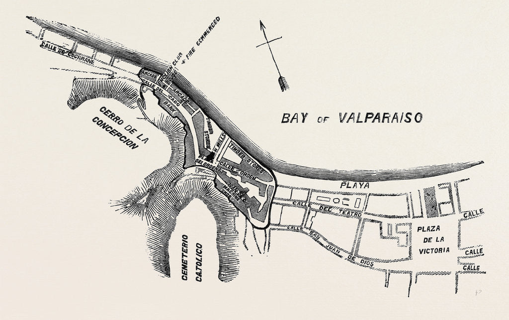 Detail of Plan of Part of the City of Valparaiso by Anonymous