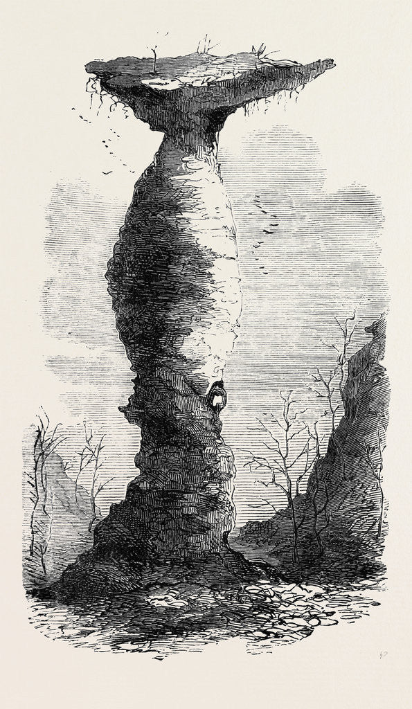 Detail of The Jug Rock in Southern Indiana 1869 by Anonymous
