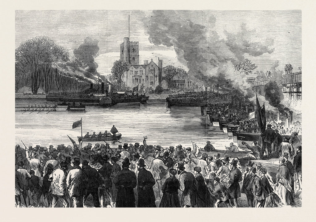 Detail of Oxford and Cambridge Universities Boat Race: The Start from Putney London UK 1869 by Anonymous