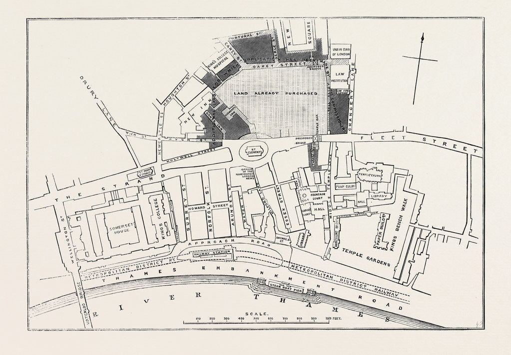 Detail of Proposed Sites for the New Law Courts: Plan of Mr. F. Shields for a New Approach to the Carey Street Site London 1869 UK by Anonymous