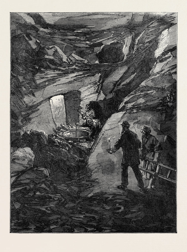 Detail of The Explorations at Jerusalem: Rock-Cut Tunnel Near the Fountain of the Virgin 1869 by Anonymous