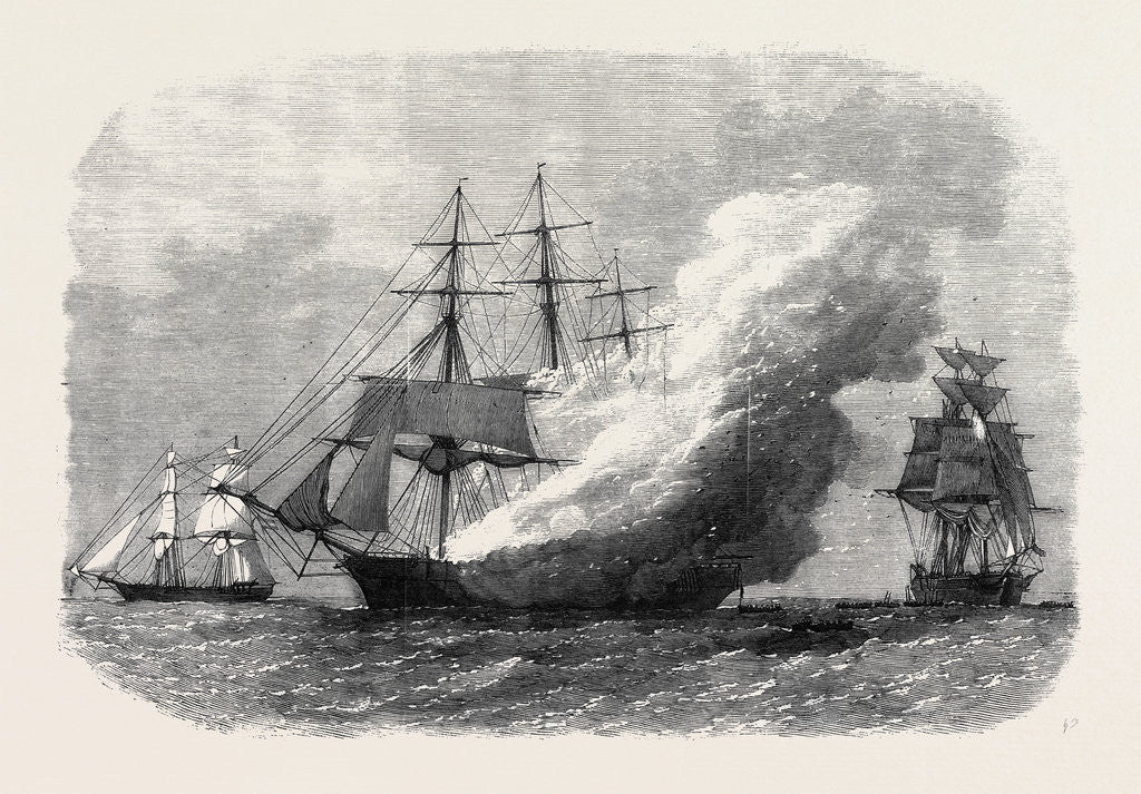 Detail of Burning of the Omar Pacha Australian Ship Homeward Bound 1869 by Anonymous