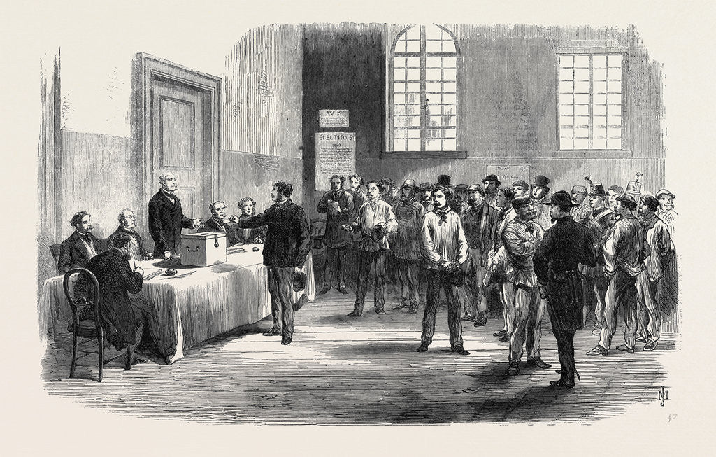 Detail of The Elections in France: Electors Voting at the Polling-Place in the Faubourg St. Antoine 1869 by Anonymous