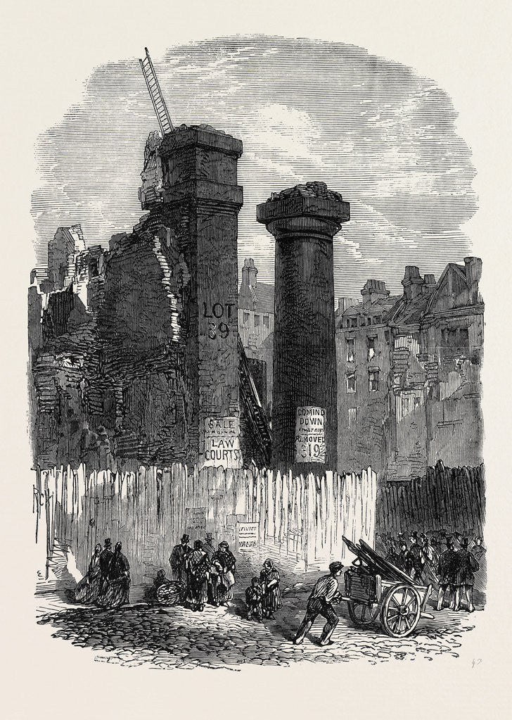 Detail of Demolition of the Entrance to Clement's Inn Strand London UK 1867 by Anonymous