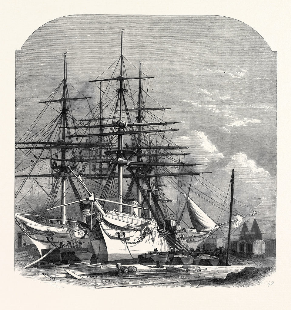 Detail of Hospital Ships for the Abyssinian Expedition Fitting Out in the Victoria Docks 1867 by Anonymous