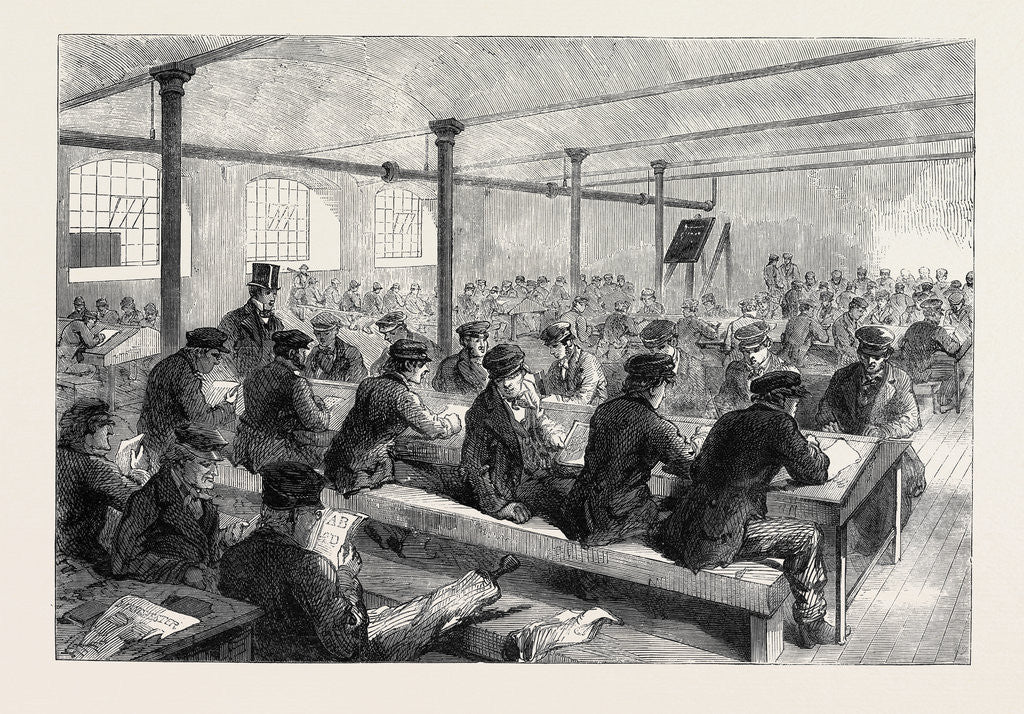 Detail of The Cotton Famine: School for Mill Operatives at Mr. Stirling's Mill Lower Mosley-Street Manchester 1862 by Anonymous