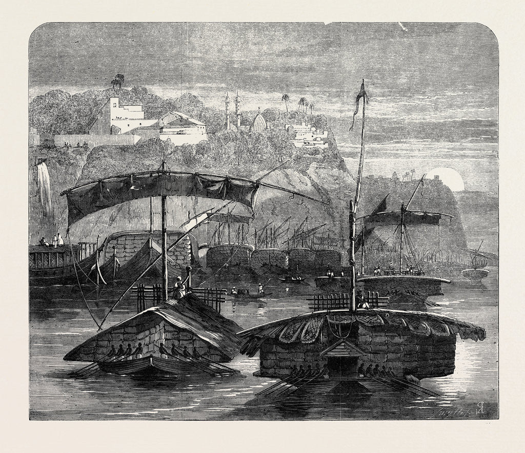 Cotton from India: A Cotton Fleet Descending the Ganges Casting Off from Mirzapore Early in the Morning 1862 by Anonymous