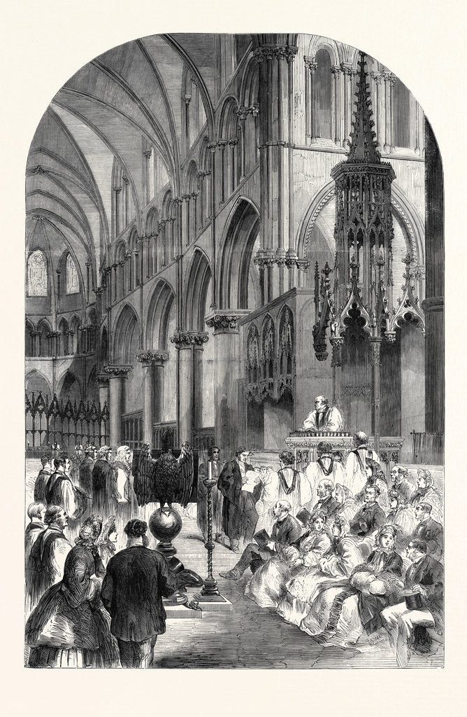 Detail of Enthronisation of the Most Rev. Dr. Charles Thomas Longley Lord Archbishop of Canterbury in the Choir of Canterbury Cathedral 1862 by Anonymous